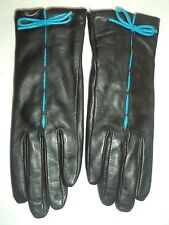 Ladies Blue Bow Genuine Leather Gloves,L, Black