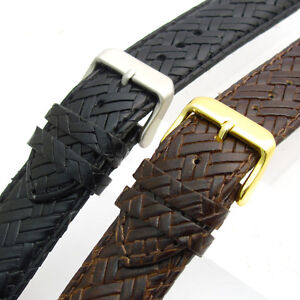 Leather Watch Band by Apollo 20mm Basketweave Black or Brown Free Pins!