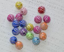 100 bunte Acryl Perlen ca 8 mm strasseffekt silberne Spirale A1047