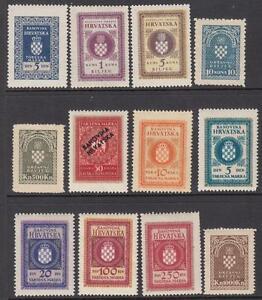 Croatia General Revenues 1940-44 12 diff mint stamps Barefoot cv $46