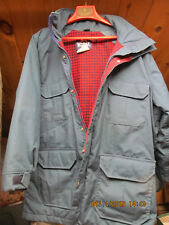 Vintage Woolrich Mountain Parka Coat Blue w/ Wool Lining Womens L Made in USA