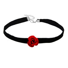 Fashion Gothic Women Girls Red Rose Flower Chain Choker Collar Necklace Pendant