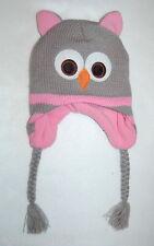 Girls KNIT ANIMAL HAT OWL Gray Pink