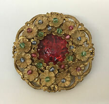 VINTAGE MIRIAM HASKELL PIN FLOWERS POURED GLASS IN DIFFERENT COLORS LARGE
