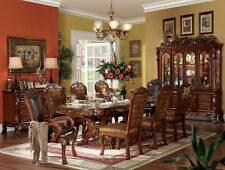 Traditional Brown Finish Dining Room Set 9 pieces Rectangular Table Chairs Iaci