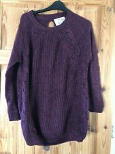 NEW LOOK Ladies Pretty Burgundy Cable Knit Keyhole Neck Loose Fit Jumper Size S