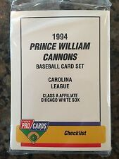 1994 Prince William Cannons Minor League Baseball Team Set Chicago White Sox