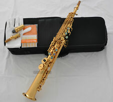Top Gold Straight Soprano Saxophone Sax ablone shell Key High F# G 2 Neck W/case