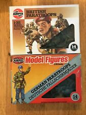 Vintage Airfix 1/32 Scale WWII German & British Paratroops 1 ea in box complete