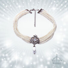 Perlenkette vintage Strass Brautschmuck Tracht Dirndl Oktoberfest Choker CTS87