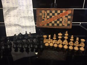 """Vintage """"Milbro"""" Staunton Pattern Chess Set In Wooden Box Size 0 Collectable"""