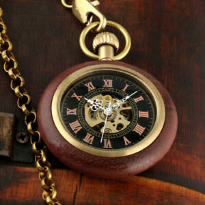 Mens Pocket Watch Mechanical Brown Open Face Hand-winding Retro Chain Luxury