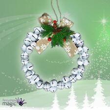Large Christmas Xmas Festive Door Hanging Jingle Bell Wreath White Decoration