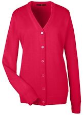 LADIES V-NECK, BUTTON FRONT, EASY CARE, CARDIGAN / SWEATER, ANTI-PILL, XS-3XL