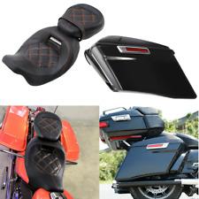 """4"""" Extended Saddlebags Driver Passenger Pillion Seat For Harley Road Glide King"""