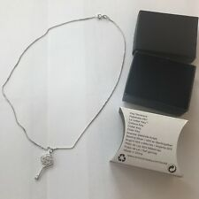 Avon~SILVER PLATED Key Necklace BRAND NEW & In A Black Presentation Box