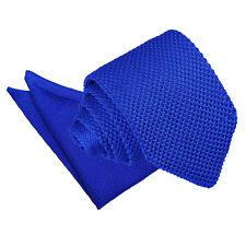 DQT Knit Knitted Plain Royal Blue Casual Men's Slim Tie Handkerchief Set