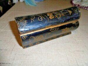 VINTAGE TRINKET BOX ASIAN BLACK LAQUER SLIDE COVER