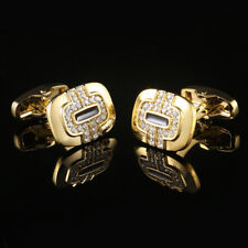 New Gold Diamond French Cufflinks Men's French Button Shirts Cuff Links 12#