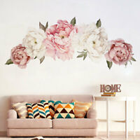 Peony Pink Rose Flower Blossom Wall Stickers Decal Home Bedroom Mural Decor Art