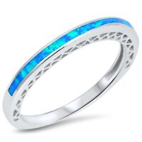 Blue Lab Opal Stackable Wedding Band Ring .925 Sterling Silver Sizes 4-10 NEW