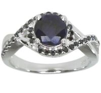 Diffusion Sapphire and Black Spinel Sterling Silver Ring