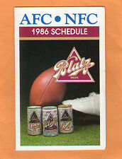 1986 NFL NFC AFC FOOTBALL OFFICIAL POCKET GAME SCHEDULE BLATZ  BEER