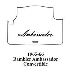 1966 AMC Ambassador Conv Trunk Rubber Floor Mat Cover with A-003 Ambassador