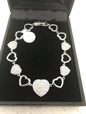 """Fine Jewelry Hearts Pave sterling silver Tennis Braclet With Zirconia Stones 7"""""""