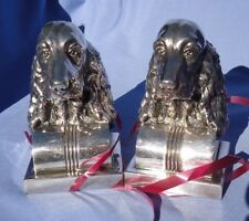 1920 English Irish Welsh Setter Spaniel silver Jennings Brothers bookends