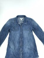 Womens Old Navy Denim Jean Button Down Shirt Long Sleeve Size 6/7 Small