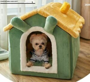 Pet Dog Cat House Beds Kennel Indoor Raised Tent Cushion Mat Removable Chimney