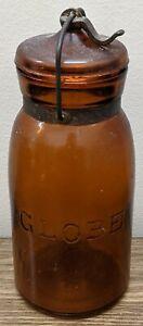 Antique Globe Amber Quart Fruit Jar & Lid with metal Clamp May 25 1886 #62