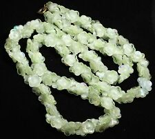 Vintage LONG Czech Molded Iridescent Mint Green Flower Art Glass Bead Necklace