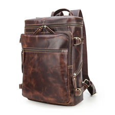 """Coffee Men's Leather 15.6""""Laptop Backpack Travel Outdoor Camping Tote Schoolbag"""