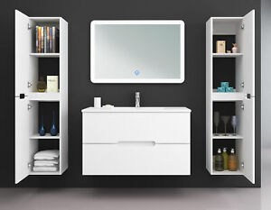 Badmöbel Set TIANA 70 cm Weiß Waschtisch Unterschrank LED Spiegel Seitenschrank