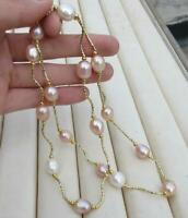 "Nice AAA+ 10-12MM REAL NATURAL SOUTH SEA WHITE+ PINK PEARL NECKLACE 25"" 14K GOLD"