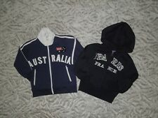 Lot of 2 Boy's Zip-up Hoodie Sweaters Size 2- Australia and Paris France