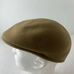 Vintage Czech Republic 100% Wool Felt XL Tan Brown Newsboy Cabbie Flat Cap Hat