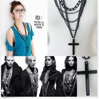 Hot Mens Retro Vintage Punk Style Cross Pendant Black Long Chain Necklace