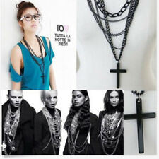 Hot Mens Retro Vintage Punk Style Cross Pendant Black Long Chain Necklace