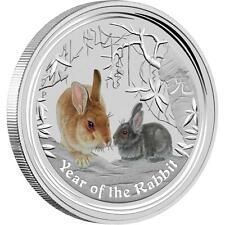 Perth Mint Australia 2011 $ 0.5 Coloured Rabbit Half 1/2 oz .999 Silver Coin