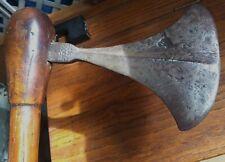 Rare 16Th Century Fighting Axe Wooden Mushroom Top Original Handle Native