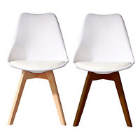 WHITE Jamie Dining Chair Wooden Retro Designer Soft Pad Faux Leather Walnut/Pine