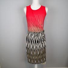 Calvin Klein Red Orange Brown Black Animal Stripe Wrap xs Sleeveless Dress