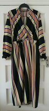 ASOS Design Maxi Dress UK 12 Wrap Over Around Stripe Long Sleeve Full Length