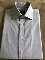 "Dehavilland Size 15"" Blue & White Fine Striped Double Cuff Shirt"