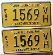 Illinois 1984 FARM License Plate PAIR NICE QUALITY # 1569 VH