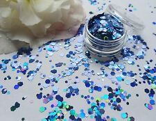 Nail Art Chunky *Ocean* Frozen Blue Hexagon Glitter Spangles Mix Pot Decoration