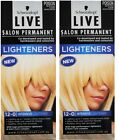 2 X SCHWARZKOPF LIVE SALON PERMANENT HAIR COLOUR 12-0 INTENSIVE LIGHTENER NEW